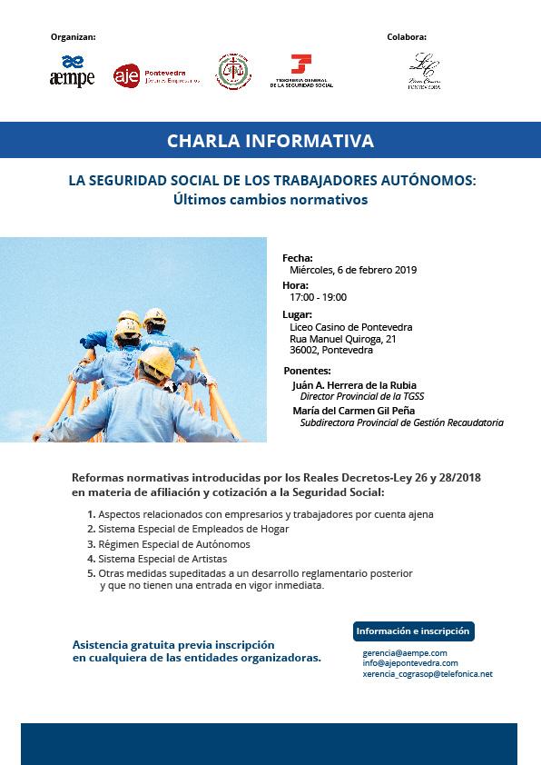 cartel de la charla informativa la seguridad social de los autonomos