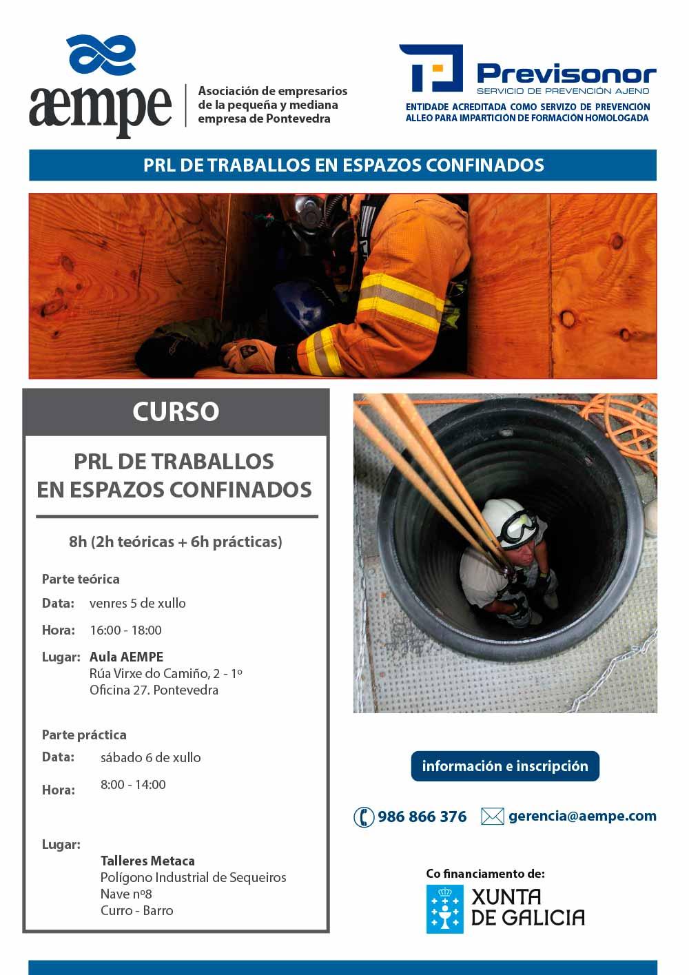 Cartel Curso PRL de traballos en espazos confinados