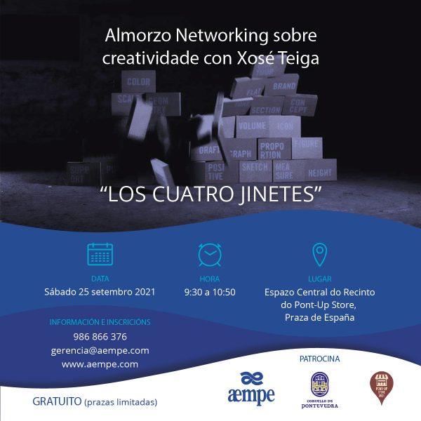 Cartel Almorzo Networking sobre creatividade con Xosé Teiga